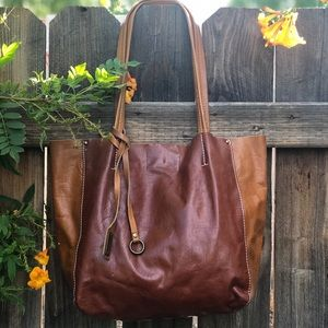 Two Tone Leather Lucky Bag
